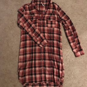 Free people casual flannel dress